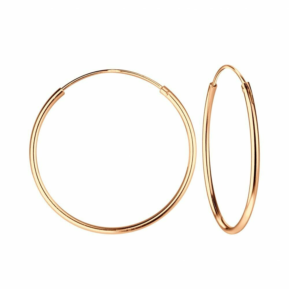 Rose Gold Dipped Sterling Silver 25mm Thin Endless Hoops