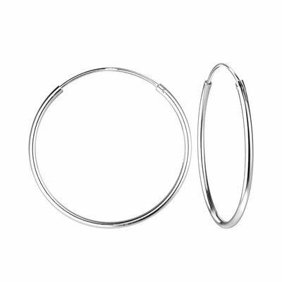 Sterling Silver 25mm Thin Endless Hoops