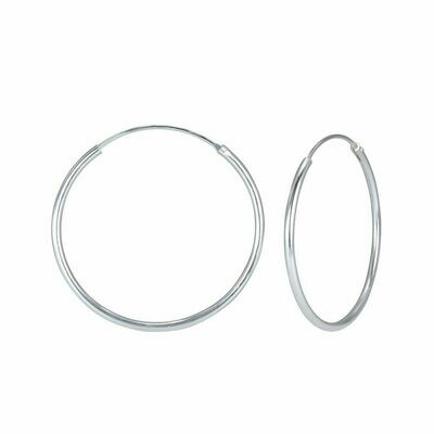 Sterling Silver 30mm Thin Endless Hoops