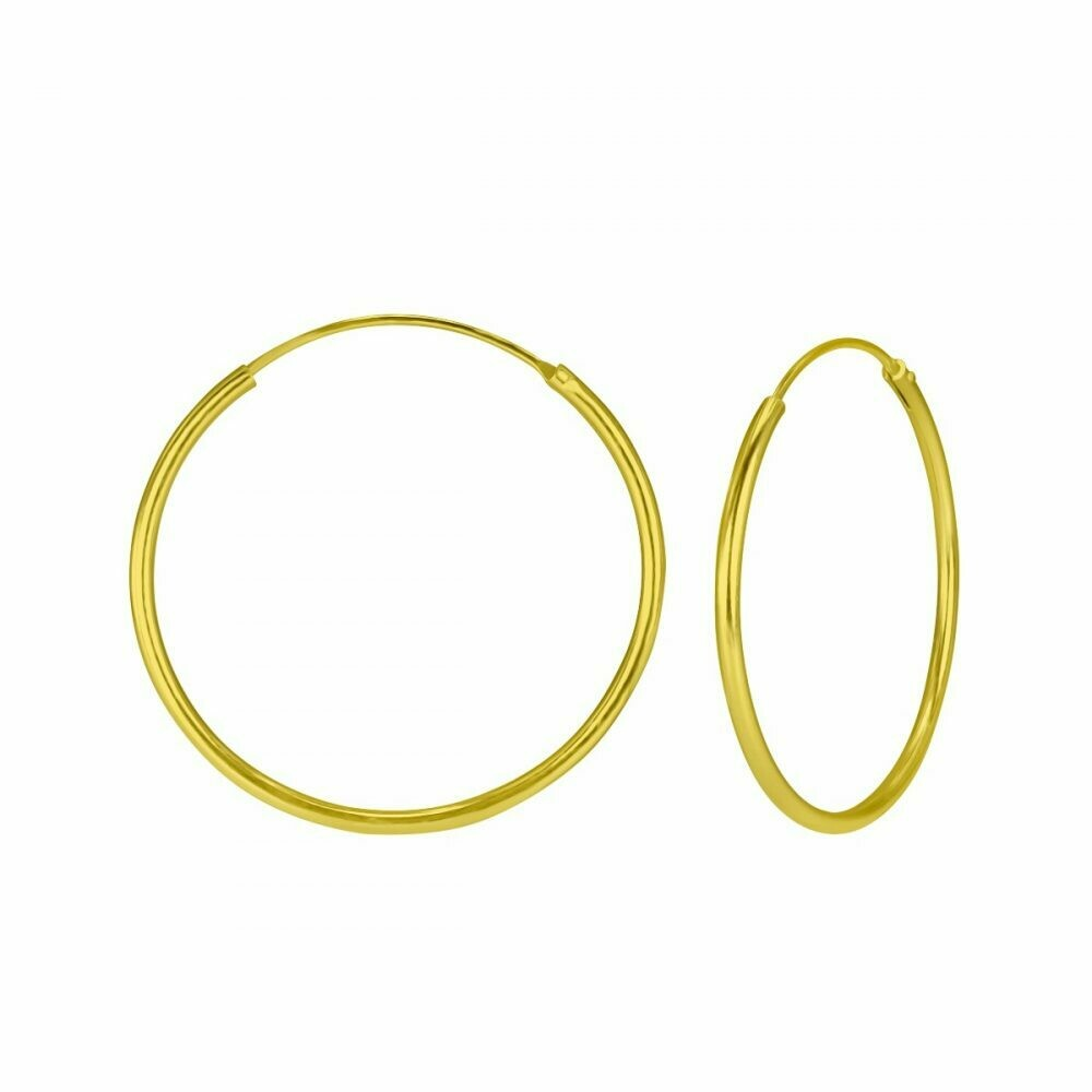 14k Gold Dipped Sterling Silver 30mm Thin Endless Hoops