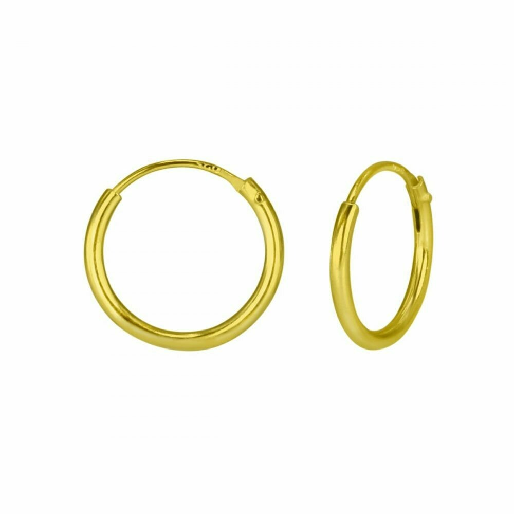 14k Gold Dipped Sterling Silver 12mm Thin Endless Hoops