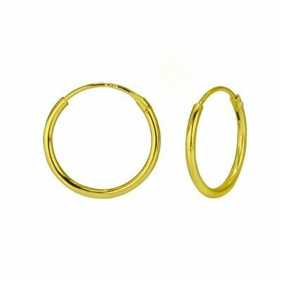 14k Gold Dipped Sterling Silver 14mm Thin Endless Hoops