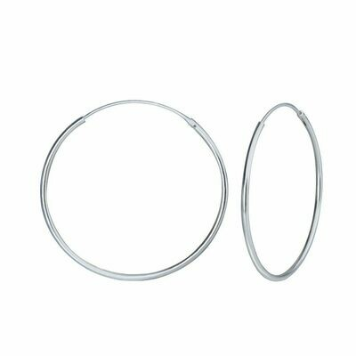 Sterling Silver 35mm Thin Endless Hoops