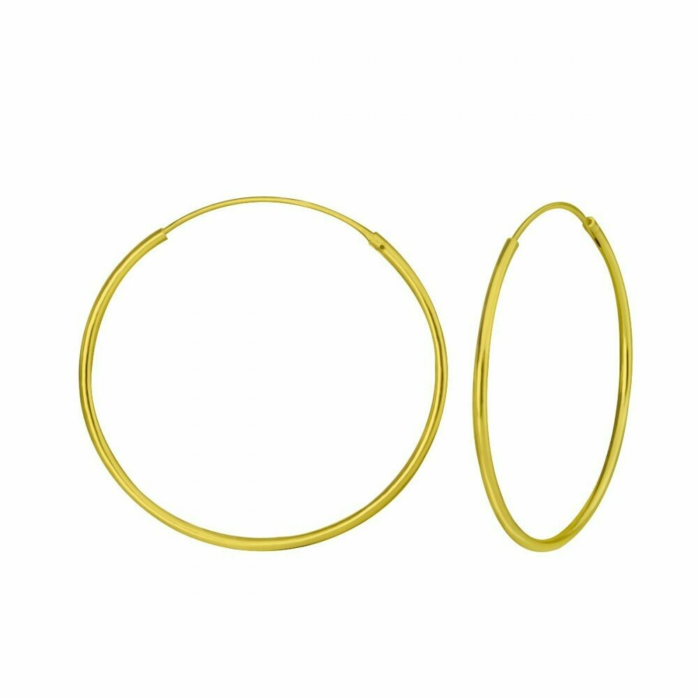 14k Gold Dipped Sterling Silver 35mm Thin Endless Hoops