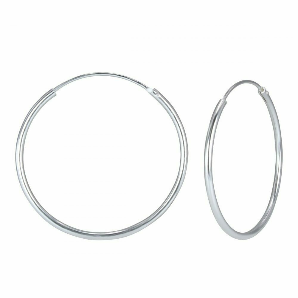 Sterling Silver 50mm Thin Endless Hoops