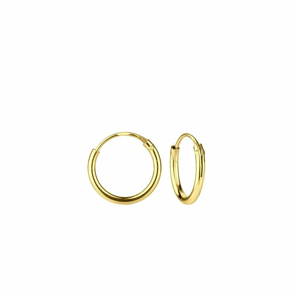 14k Gold Dipped Sterling Silver 10mm Thin Endless Hoops