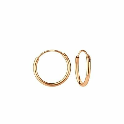 Rose Gold Dipped Sterling Silver 12mm Thin Endless Hoops