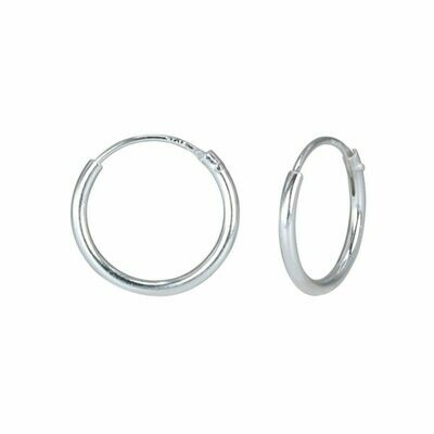 Sterling Silver 12mm Thin Endless Hoops