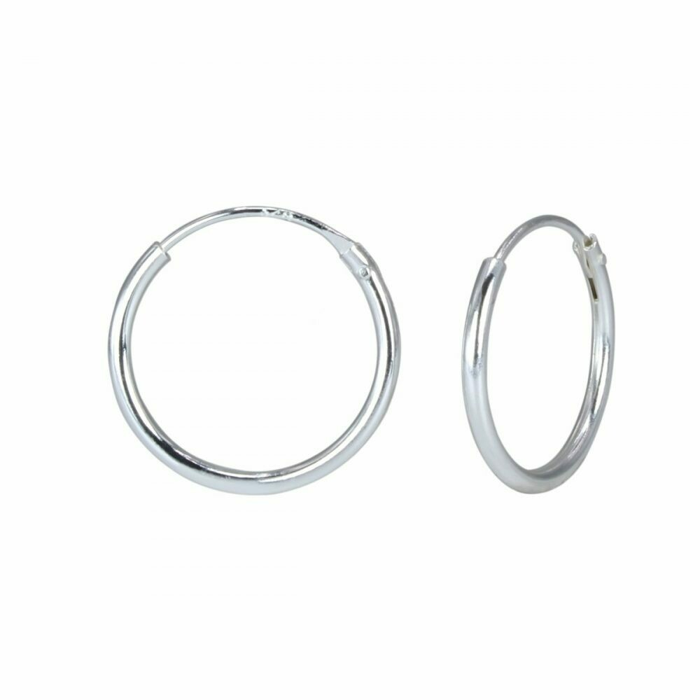 Sterling Silver 14mm Thin Endless Hoops