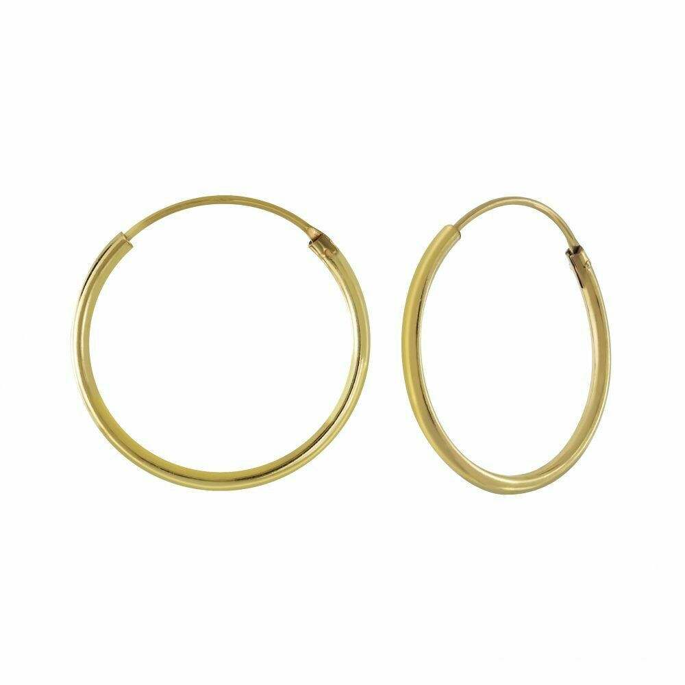 14k Gold Dipped Sterling Silver 18mm Thin Endless Hoops