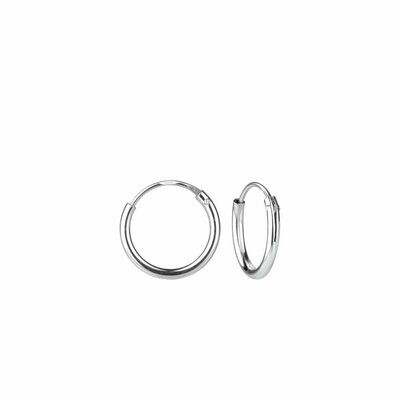 Sterling Silver 10mm Thin Endless Hoops