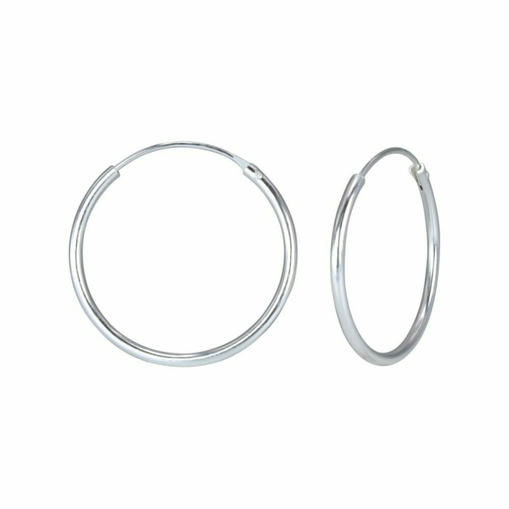 Sterling Silver 20mm Thin Endless Hoops