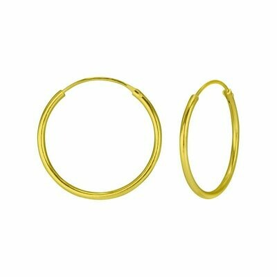 14k Gold Dipped Sterling Silver 20mm Thin Endless Hoops