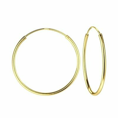 14k Gold Dipped Sterling Silver 25mm Thin Endless Hoops
