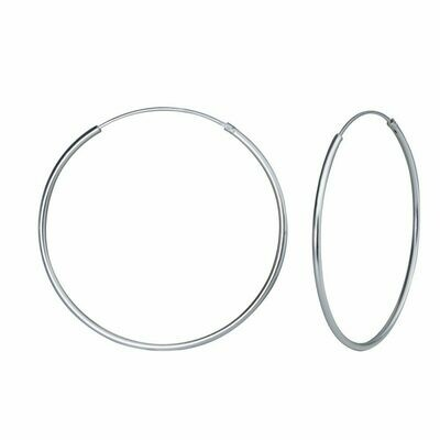 Sterling Silver 40mm Thin Endless Hoops
