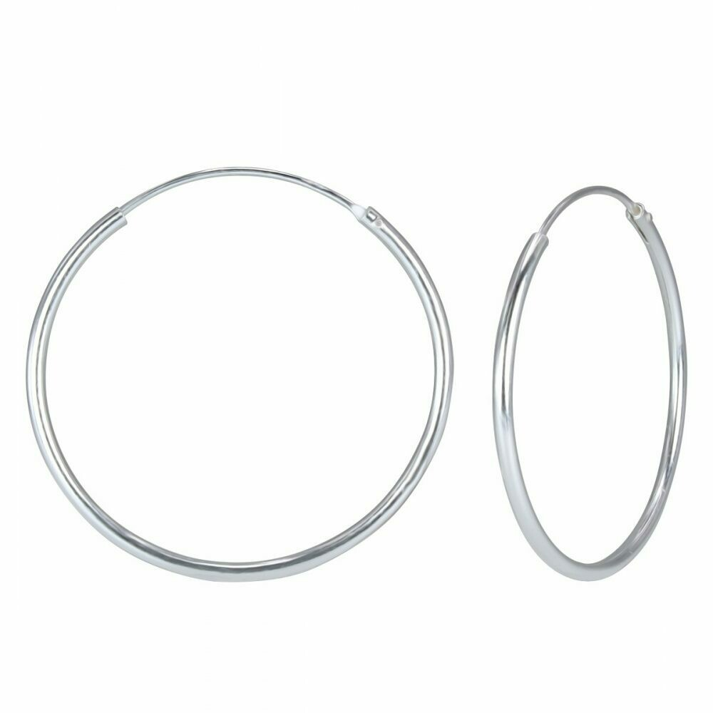 Sterling Silver 55mm Thin Endless Hoops