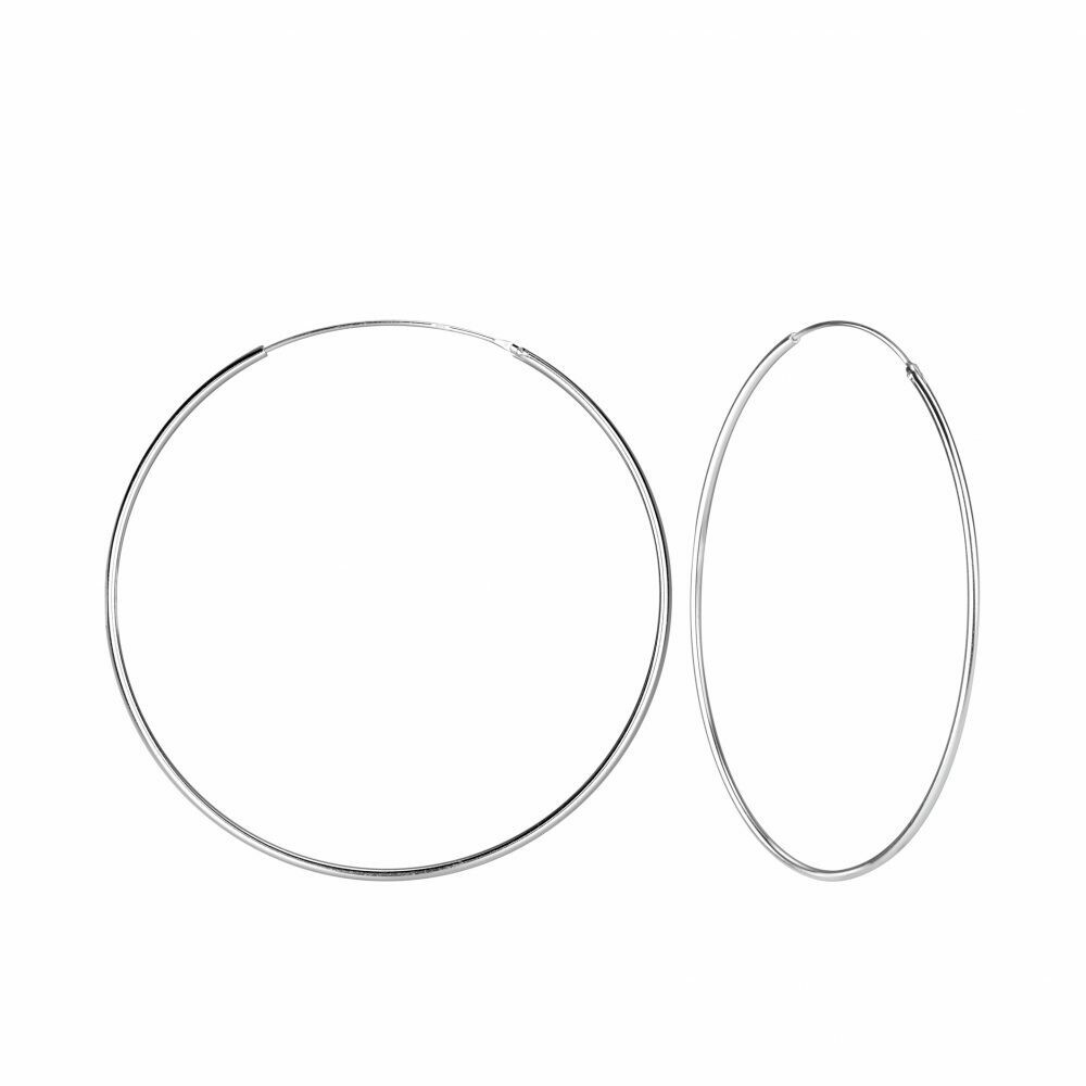 Sterling Silver 60mm Thin Endless Hoops