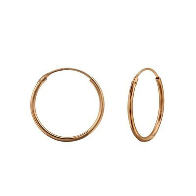 Rose Gold Dipped Sterling Silver 18mm Thin Endless Hoops