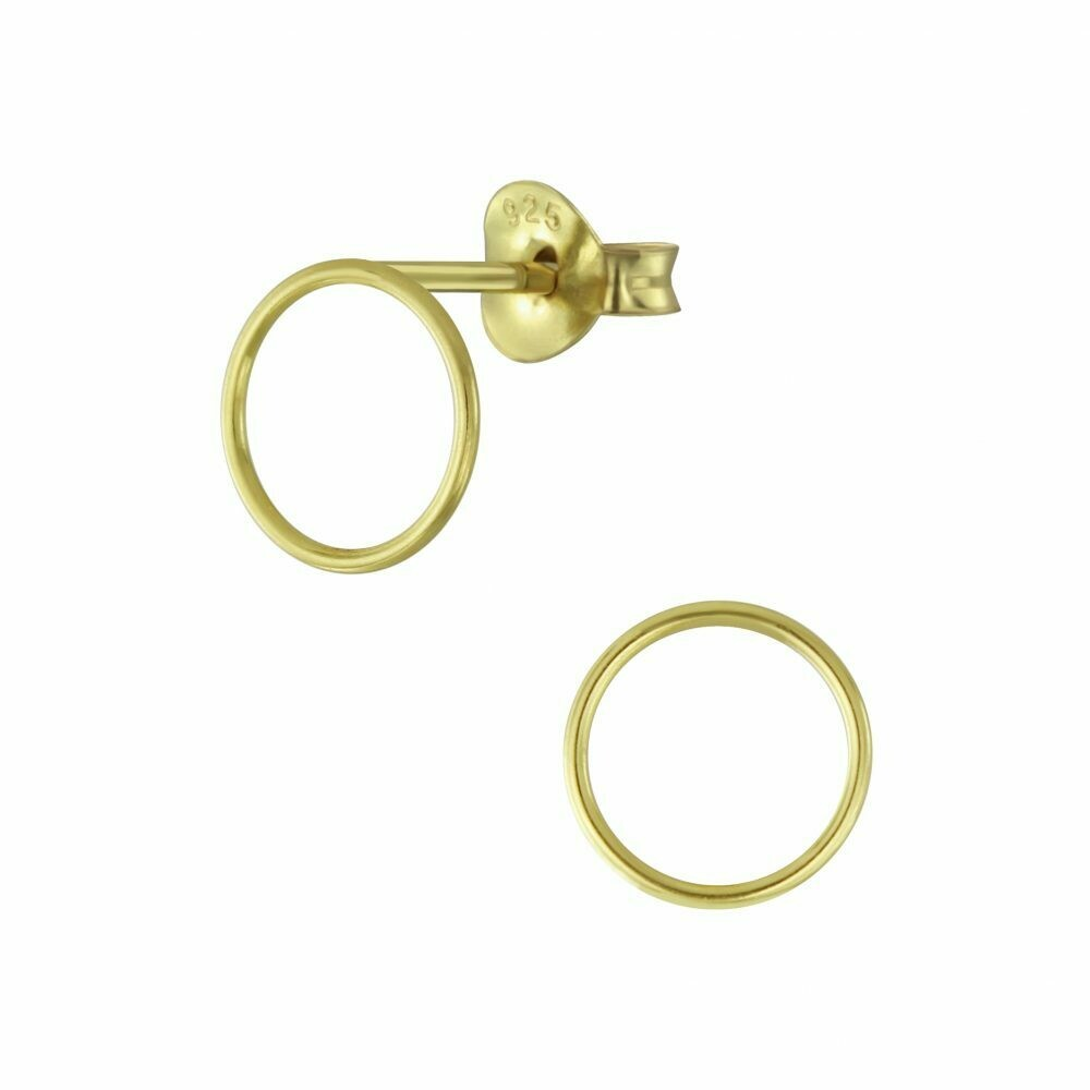 Open 9mm Circle Posts - Gold Plated Sterling Silver - P60-8