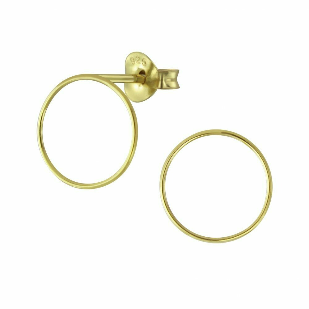 Open 12mm Circle Posts - Gold Plated Sterling Silver - P60-9