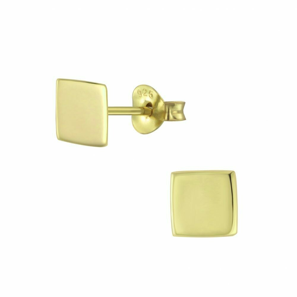 Flat Square 6mm Posts - Gold Plated Sterling Silver - P60-12
