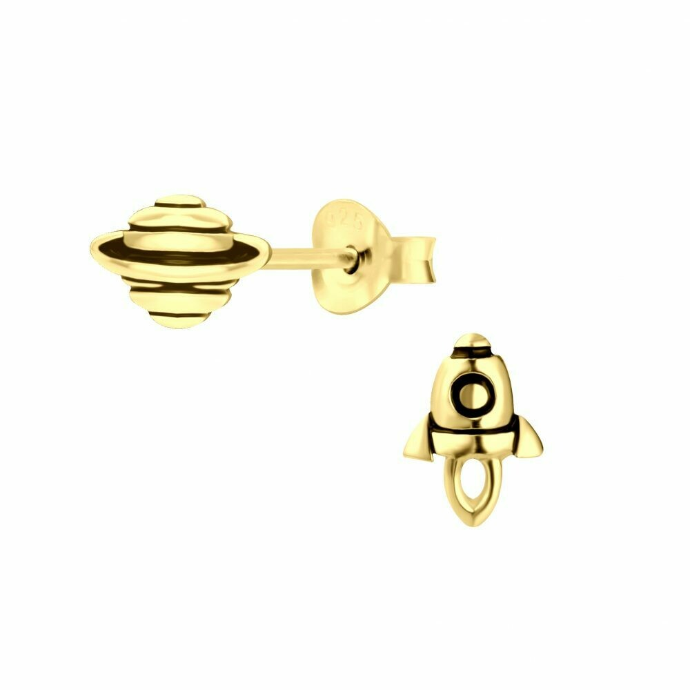 Rocket + Planet Posts - Gold Plated Sterling Silver - P60-13