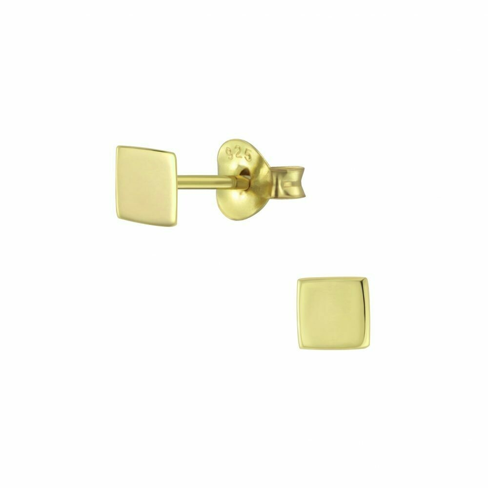 Square 4mm Posts - Gold Plated Sterling Silver - P60-19