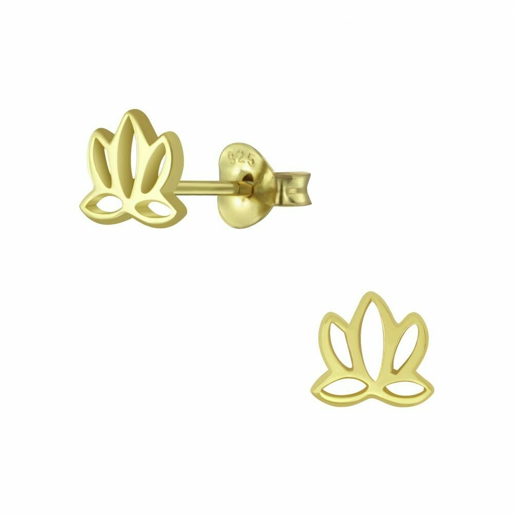 Open Lotus Posts - Gold Plated Sterling Silver - P60-11