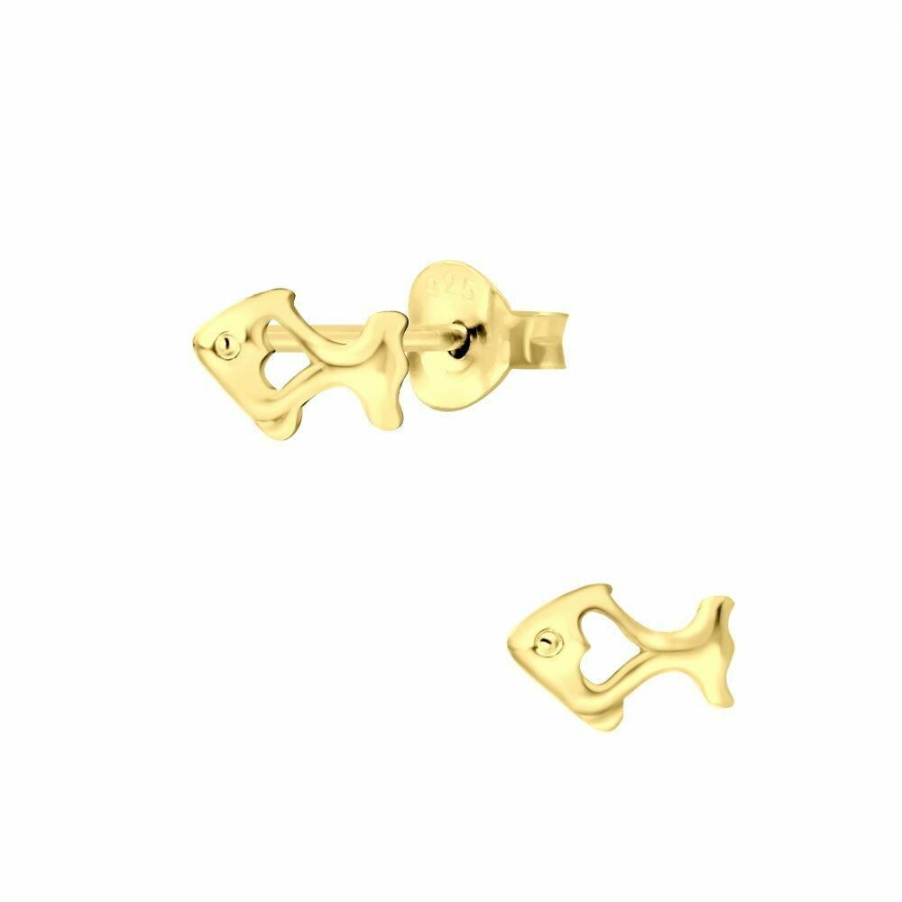Fish Posts - Gold Plated Sterling Silver - P60-15