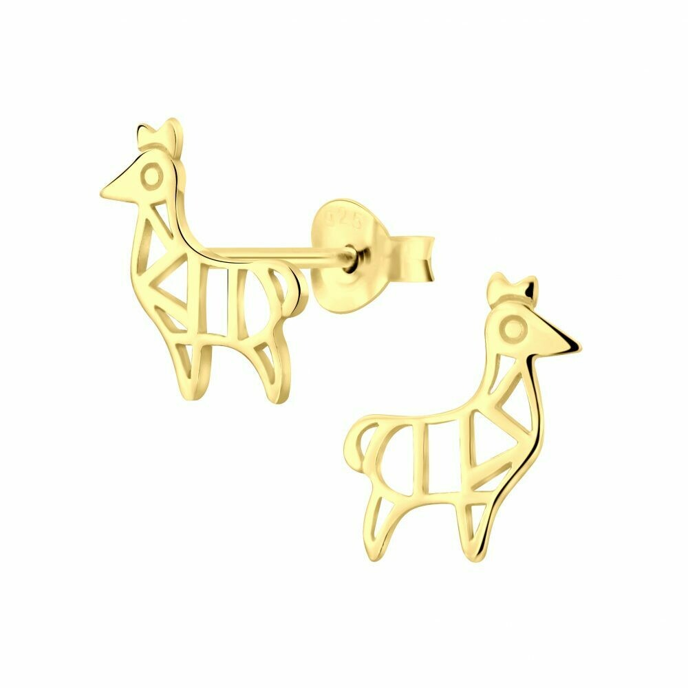 Geometric Llama Posts - Gold Plated Sterling Silver - P60-16