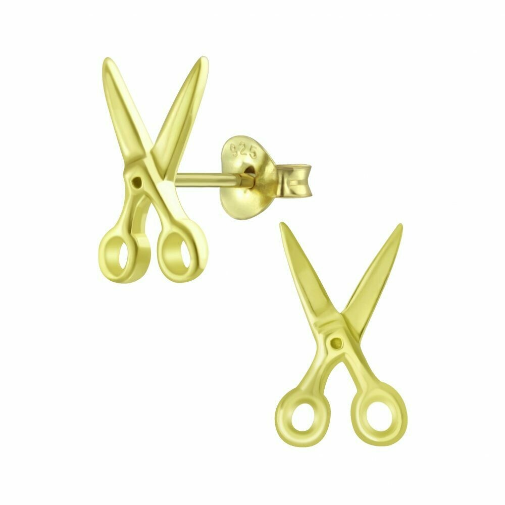 Scissors Posts - Gold Plated Sterling Silver - P60-22