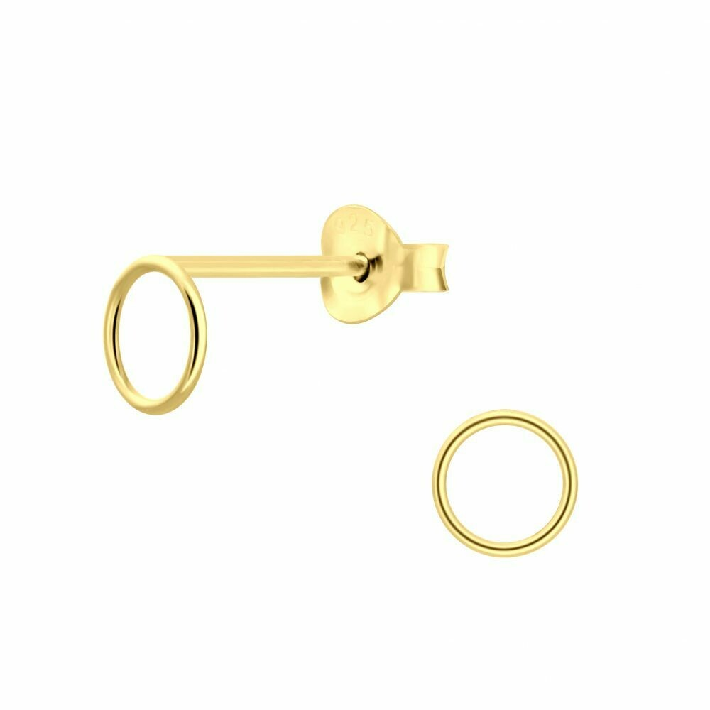 Open 6mm Circle Posts - Gold Plated Sterling Silver - P60-23