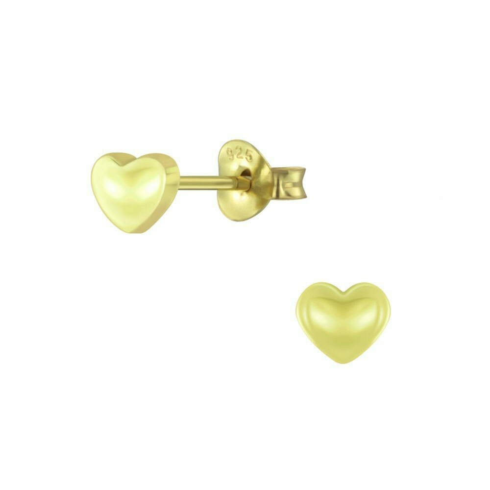 Solid Heart Posts - Gold Plated Sterling Silver - P60-20