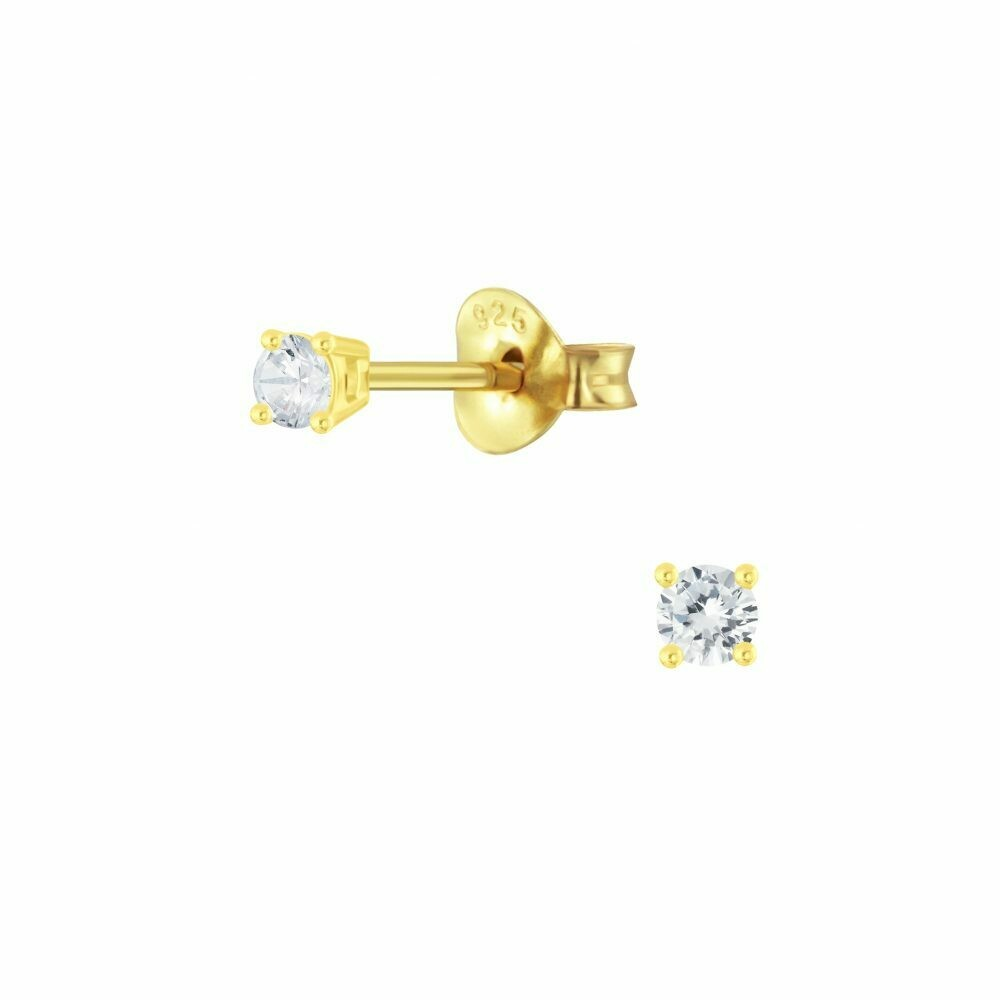 2mm Round Clear CZ Posts - Gold Plated Sterling Silver - P63-1