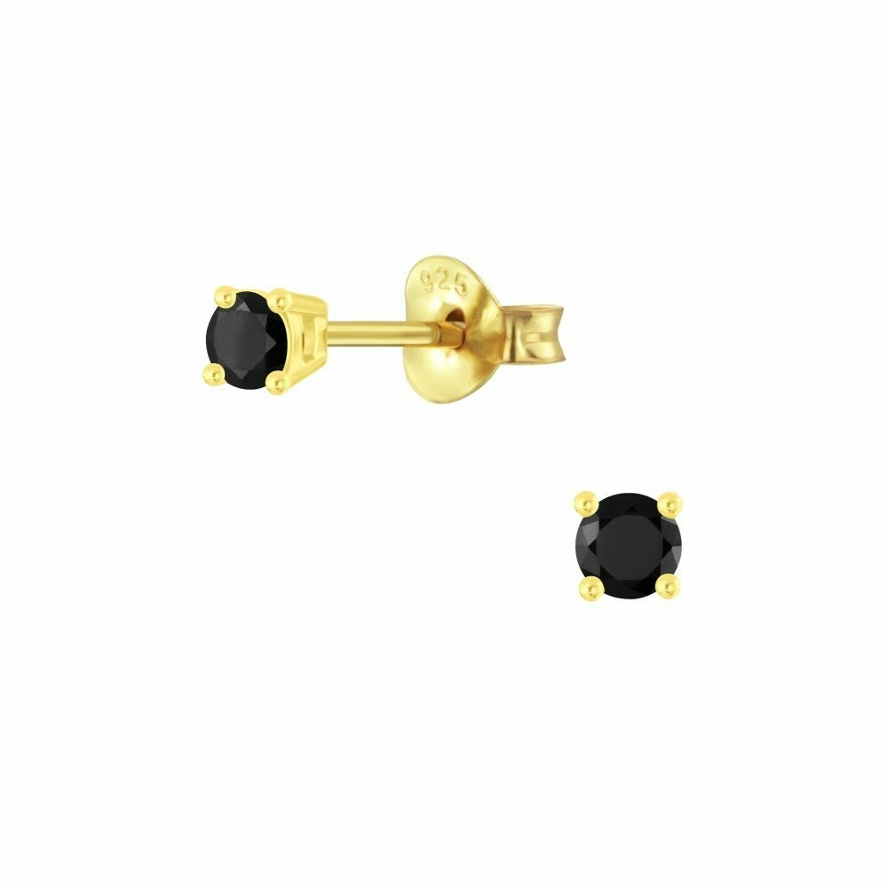 3mm Round Black CZ Posts - Gold Plated Sterling Silver - P63-4