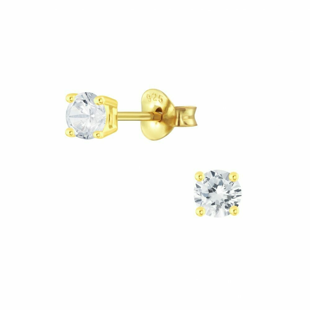 4mm Round Clear CZ Posts - Gold Plated Sterling Silver - P63-5