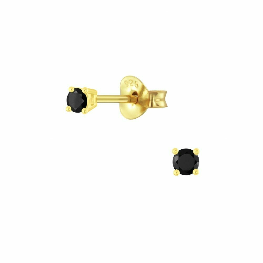 2mm Round Black CZ Posts - Gold Plated Sterling Silver - P63-2
