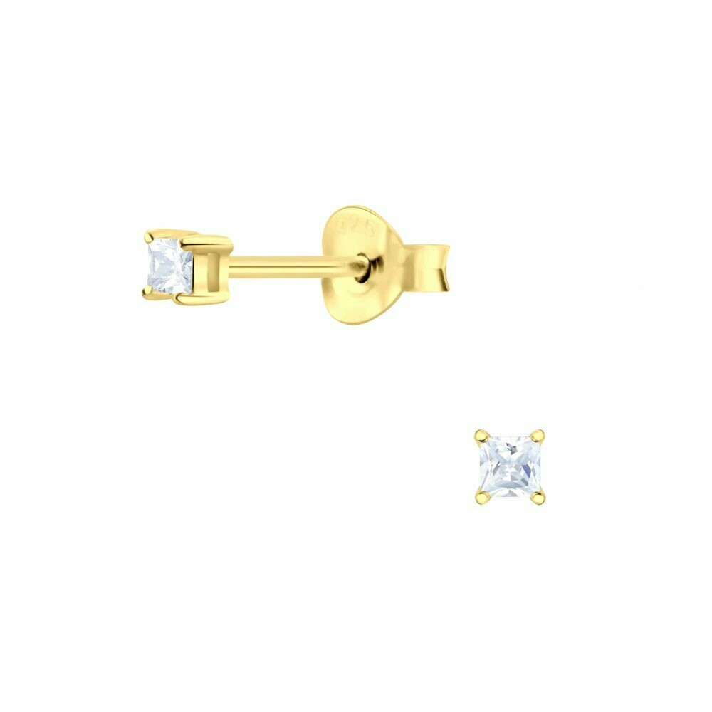 2mm Square Clear CZ Posts - Gold Plated Sterling Silver - P63-7