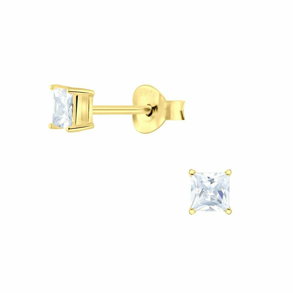 3mm Square Clear CZ Posts - Gold Plated Sterling Silver - P63-9