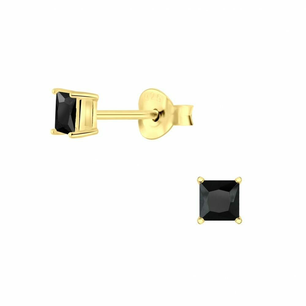 3mm Square Black CZ Posts - Gold Plated Sterling Silver - P63-10