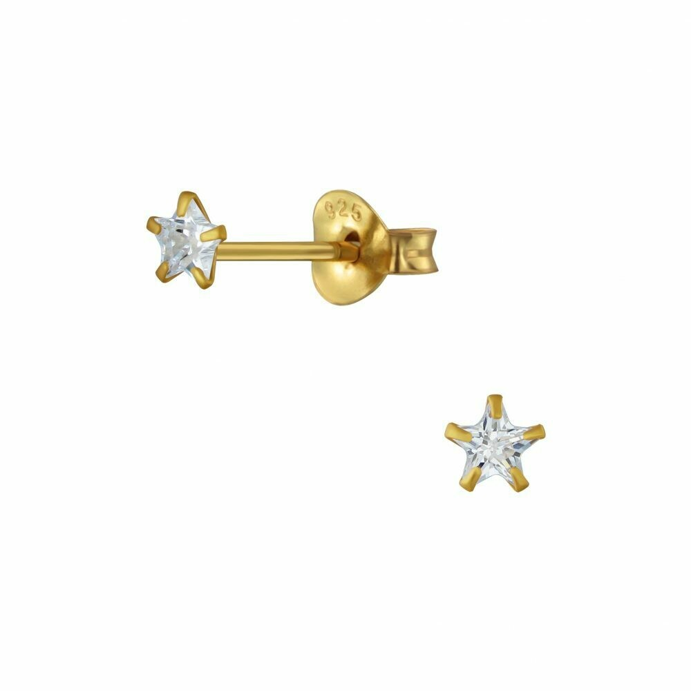 Tiny 3mm Clear CZ Star Posts - Gold Plated Sterling Silver - P63-11