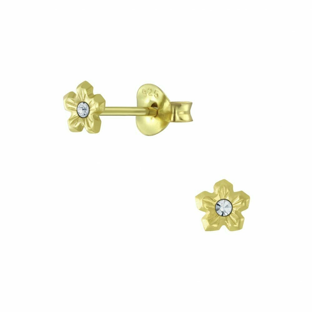 Tiny Flower Clear Crystal Center Posts - Gold Plated Sterling Silver - P63-15