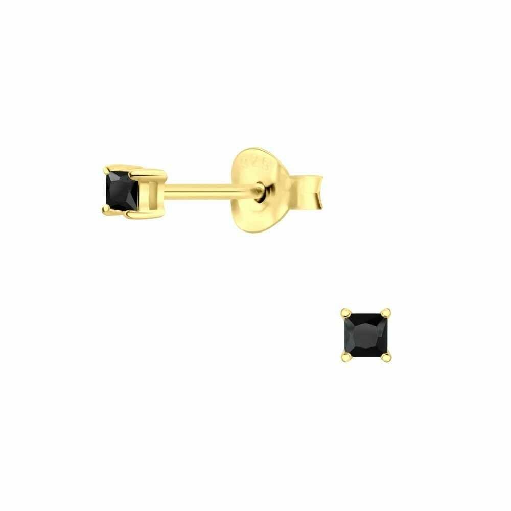 2mm Square Black CZ Posts - Gold Plated Sterling Silver - P63-8