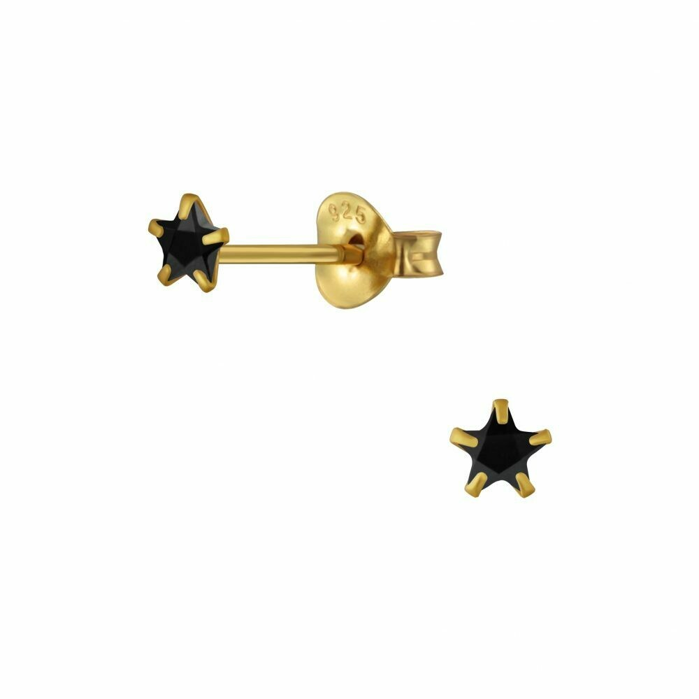 Tiny 3mm Black CZ Star Posts - Gold Plated Sterling Silver - P63-12