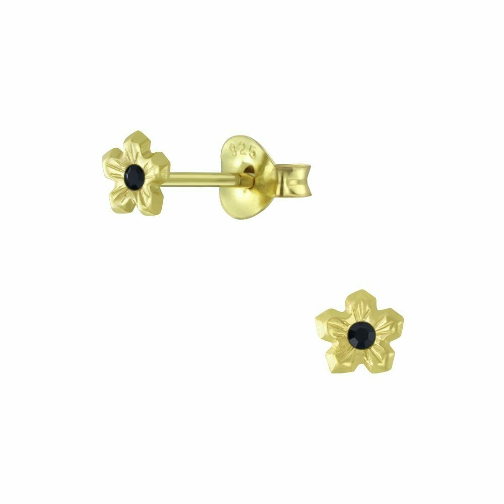 Tiny Flower Jet Crystal Center Posts - Gold Plated Sterling Silver - P63-16