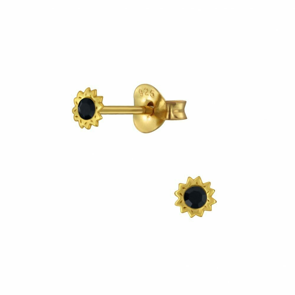 Tiny Jet Crystal Sun Posts - Gold Plated Sterling Silver - P63-20