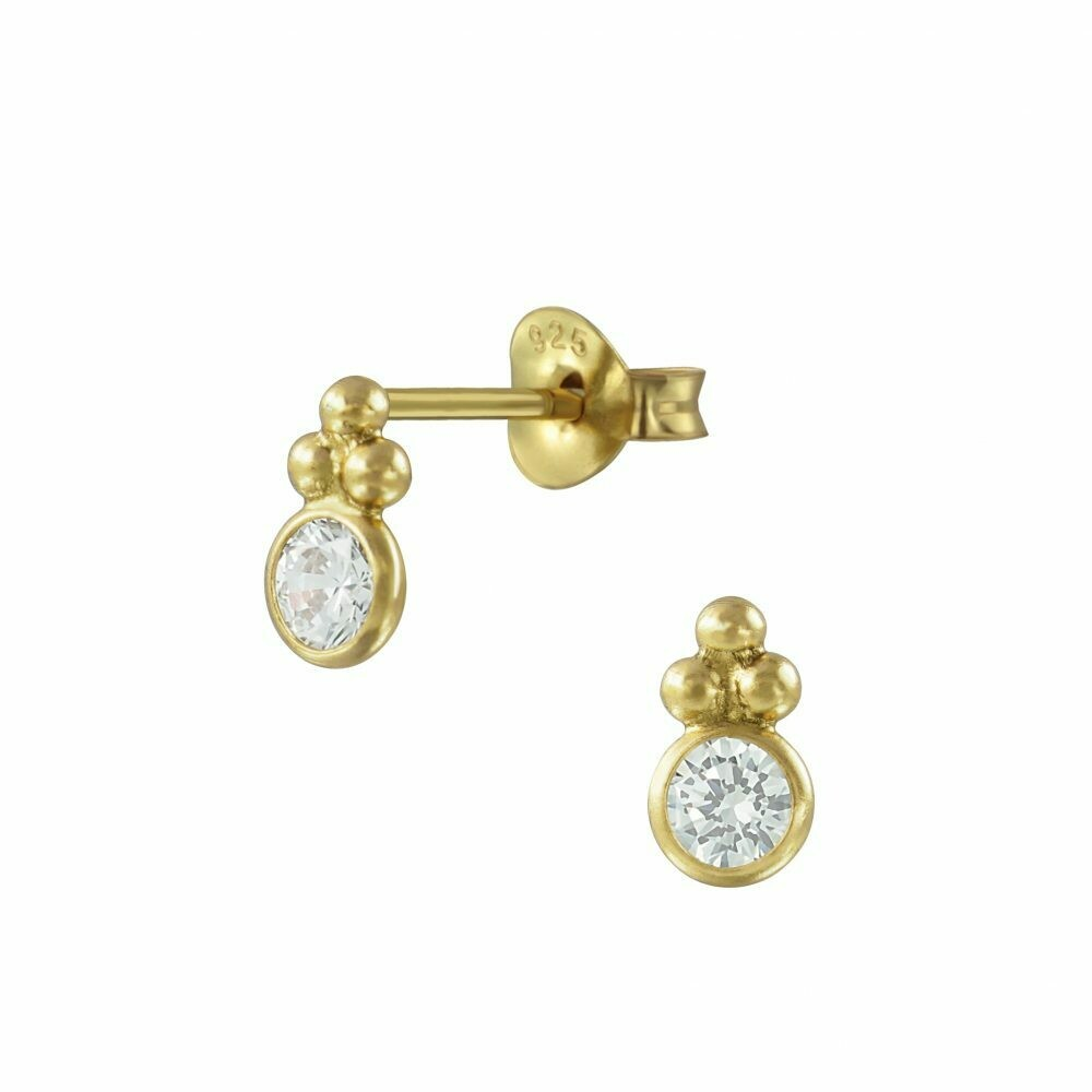 Round Decorative CZ Posts - Gold Plated Sterling Silver - P63-22