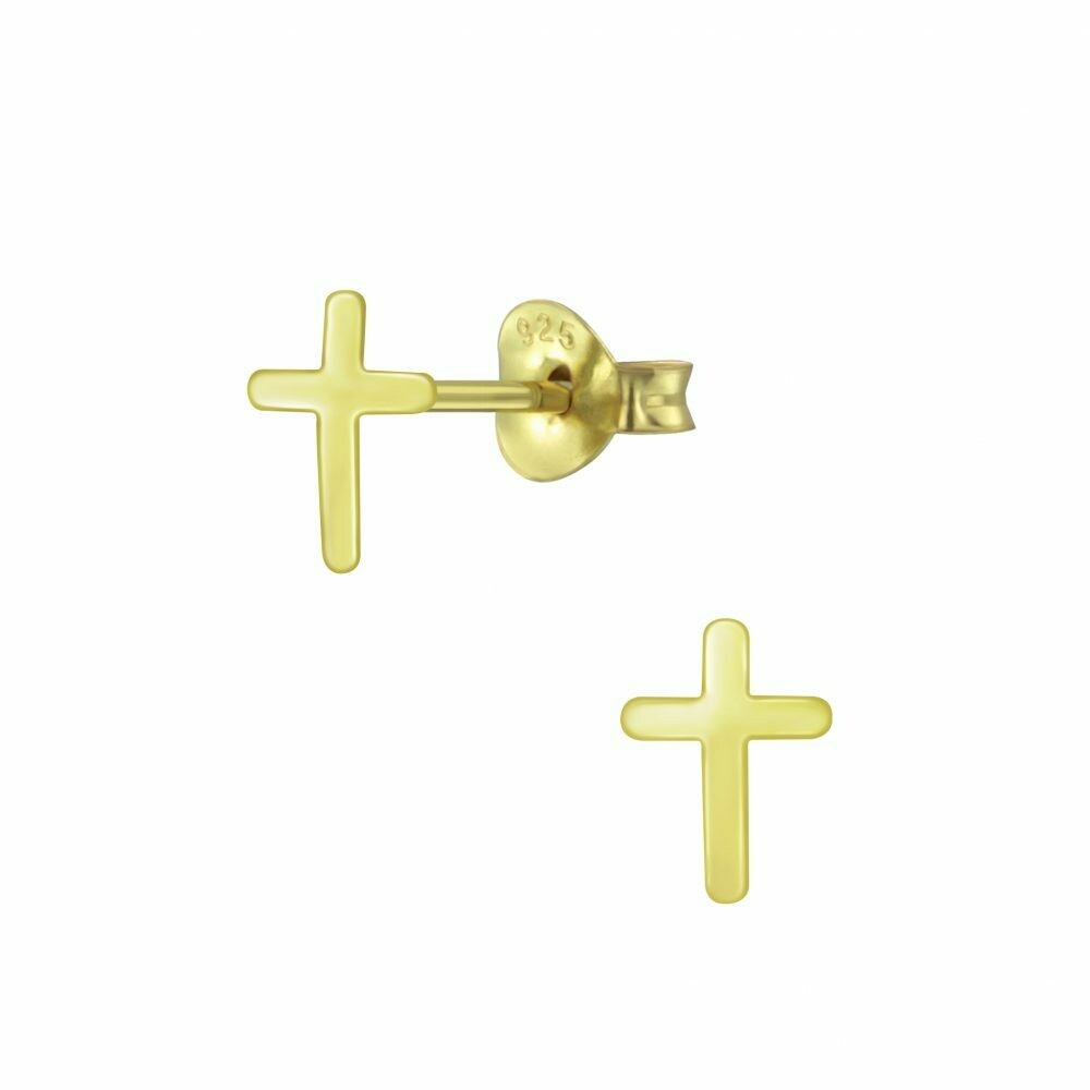 Flat Cross Posts - Gold Plated Sterling Silver - P60-24