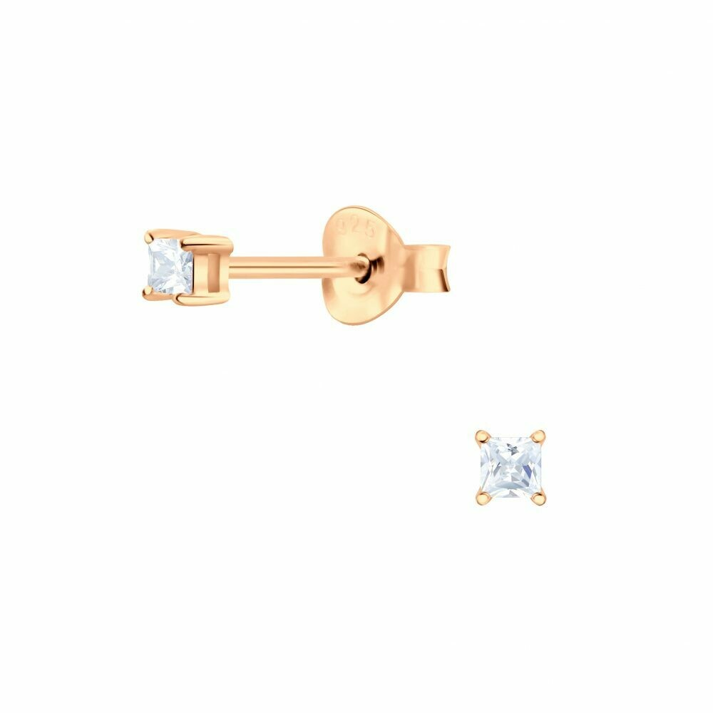 2mm Square Clear CZ Posts Rose Gold Plated Sterling Silver - P68-7