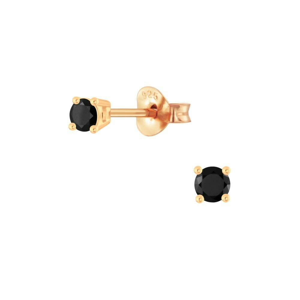 3mm Round Black CZ Posts - Rose Gold Plated Sterling Silver - P68-4